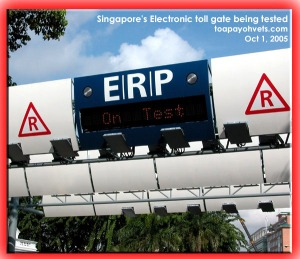 Singapore's electronic toll gate being tested on motorists. Toa Payoh Vets