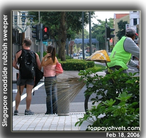 Tourists, Roadside rubbish sweeper in Singapore. Toa Payoh Vets