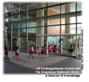 14th storey high skylight at entrance of National Library fascinates kindergarteners. Toa Payoh Vets