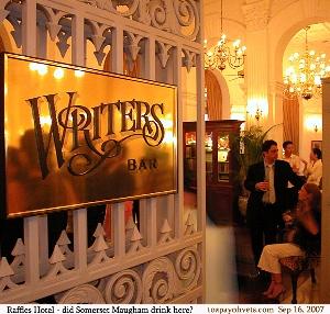 Raffles Hotel Singapore Writers Bar - Somerset Maugham, Rudyard Kipling drank here? Toa Payoh Vets