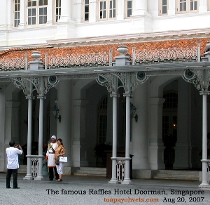 Singapore's Raffles Hotel's world famous doorman. Toa Payoh Vets.