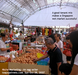 Singapore wet market, Ang Mo Kio. An egg seller. A dress seller. Toa Payoh Vets