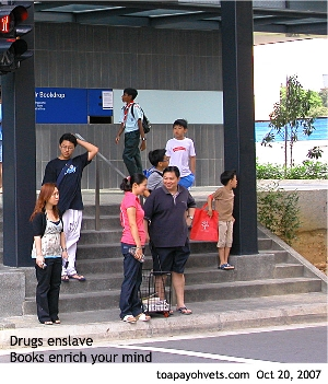 Drugs enslave, books enrich your minds. Bishan Community Library. Singapore.Toa Payoh Vets