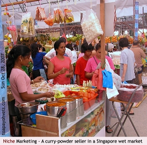 Singapore wet market. A curry powder seller. Toa Payoh Vets