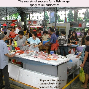 Fish and prawns must be fresh - to be successful fishmonger in the Wet Market. Toa Payoh Vets