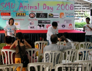 Young and energetic Singapore Management University PAW undergraduates - organisers - Animal Day 2008. Toa Payoh Vets