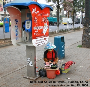Haikou's upscale waterfront condo area. A betel nut seller. Toa Payoh Vets