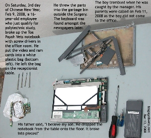 Destruction of Toa Payoh Vets notebook by a 16-year-old boy. Toa Payoh Vets