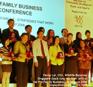 Singapore Pro-Family Business 2008 Conference Awards given. Toa Payoh Vets.