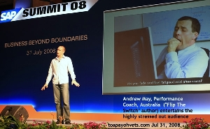 SAP Summit 2008 end of day speaker Andrew May, Performance Coach, Australia. Toa Payoh Vets