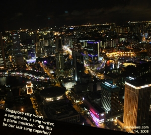 City Space pub, Singapore city views on a Monday night, 70th floor. asiahomes.com