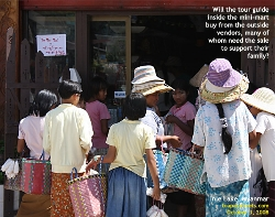 Lake Inle, Myanmar, hat and fish feeding sellers compete against the big mini-mart. Toa Payoh Vets